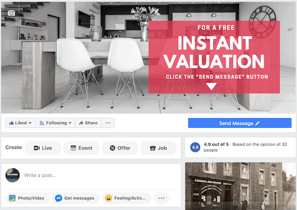 Facebook for Estate Agents - Page Button